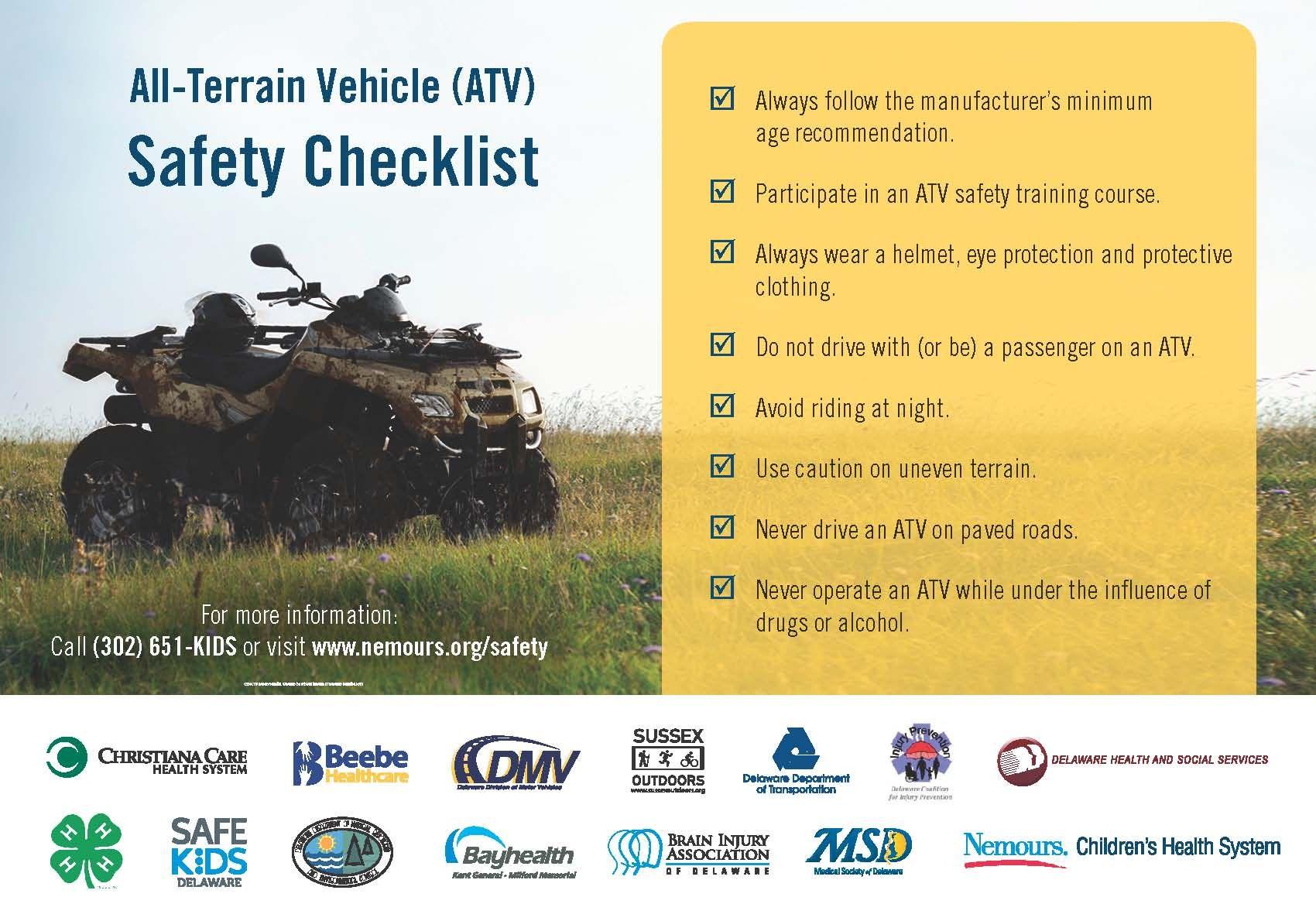 ATV Safety Check List Safety checklist, Allterrain