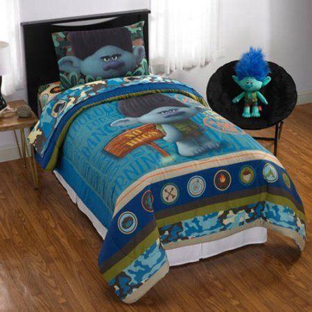 Trolls Branch 6 Piece Full Comforter Bedding Set With Bonus Stickers Kids Bedding Sets Kids Bedding Branch Bedroom Decor
