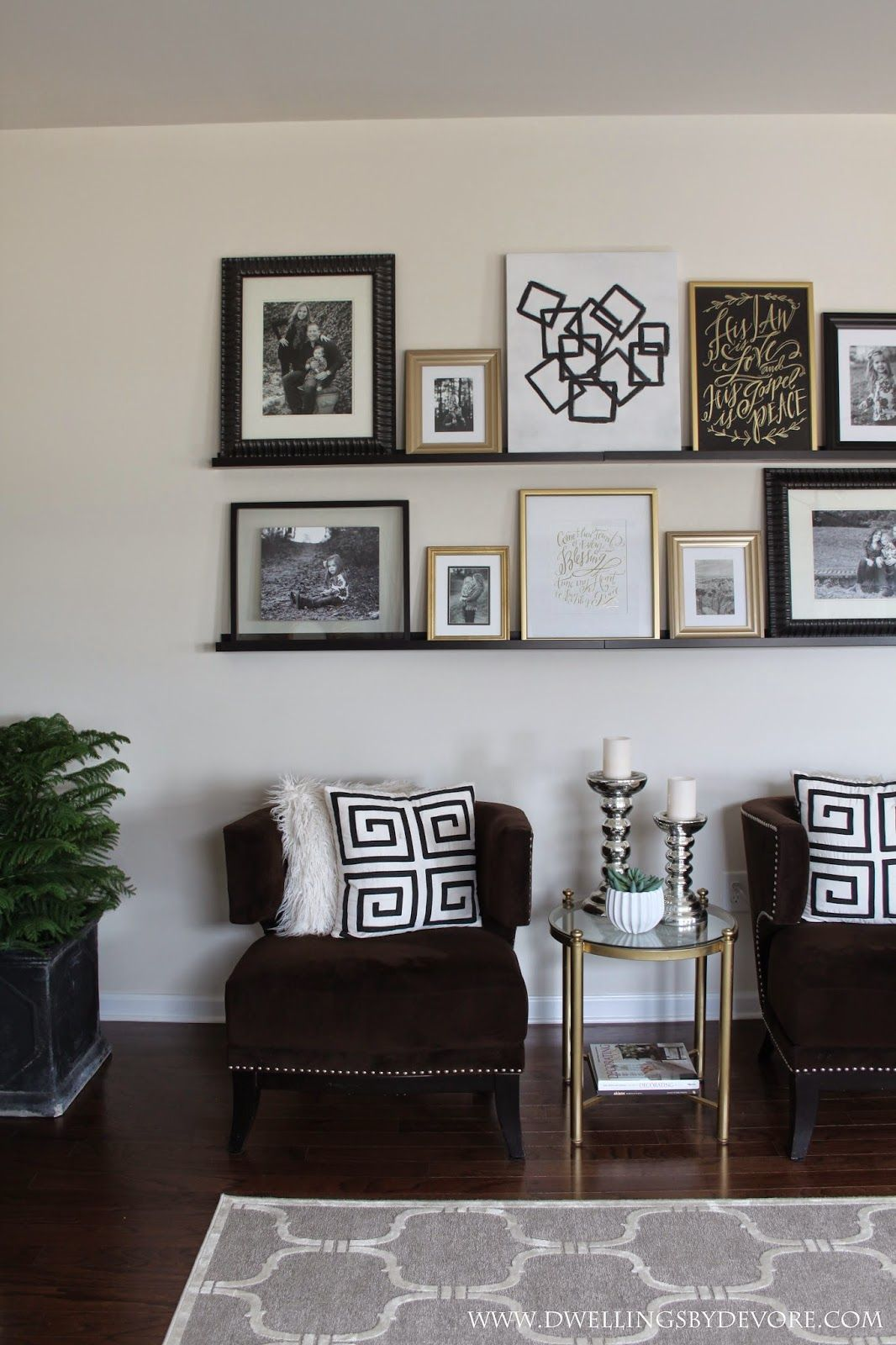 Picture ledge gallery wall using shelves from ikea diy for Dining room wall art diy