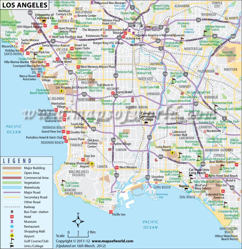 La Mmap Losangeles City In California State Of The Usa Shows: Map Of California S Largest Cities At Usa Maps