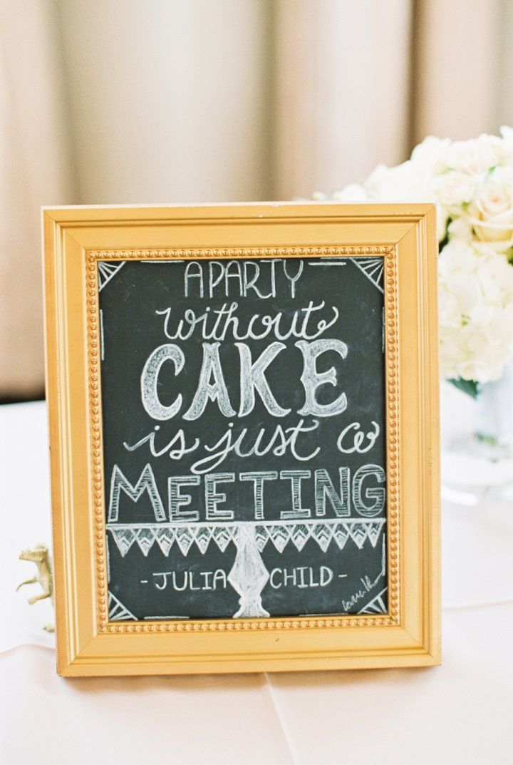 Vintage styled wedding cake sign in gold wedding photo frame | itakeyou.co.uk