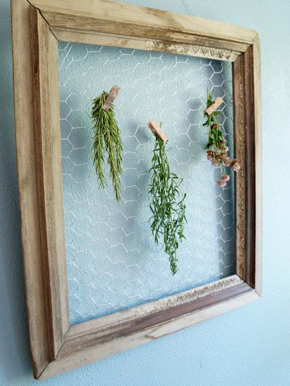 Vintage Rustic Frame with Chicken Wire- cottage chic upcycled frame ...