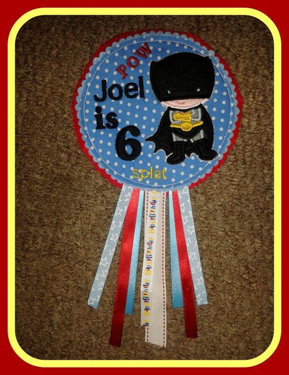 Batboy Personalised Birthday Badge by AHeartlyCraft on Etsy