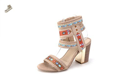 e4ae0f507dd4b Mila Lady Lisa 3 Indian Stitch Boho Heels with Ankle Strap Nude 8.5 - Mila  lady pumps for women (*Amazon Partner-Link)