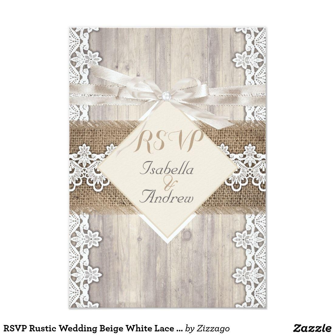 RSVP Rustic Wedding Beige White Lace Wood AB | Lace Wedding ...