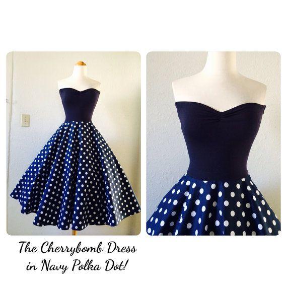 The CHERRYBOMB Dress in Navy Polka Dot by MoonbootStudios on Etsy, $129.50