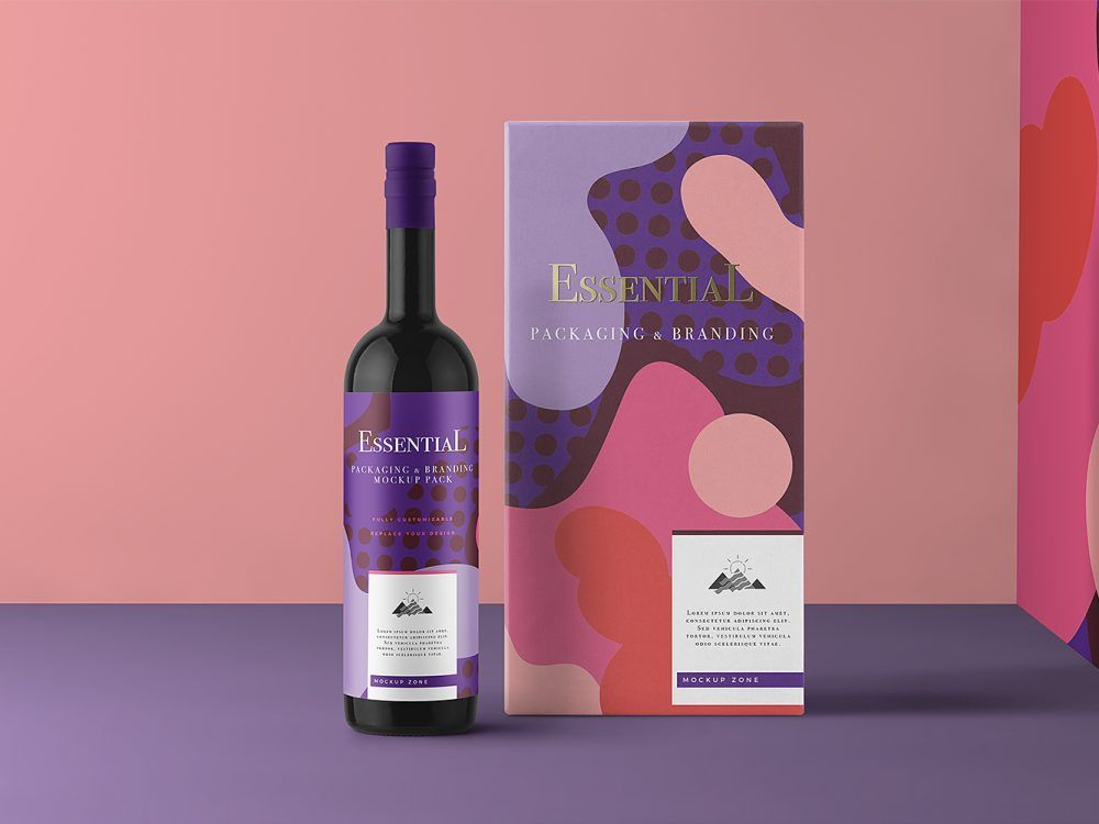 Download Free Wine Bottle And Wine Packaging Box Mockup Free Mockup Wine Packaging Design Wine Packaging Bottle Mockup