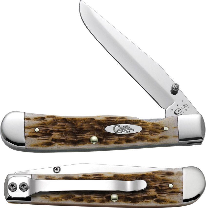 "Case Cutlery 4 1/8"" Trapperlock with Belt Clip Amber Bone"