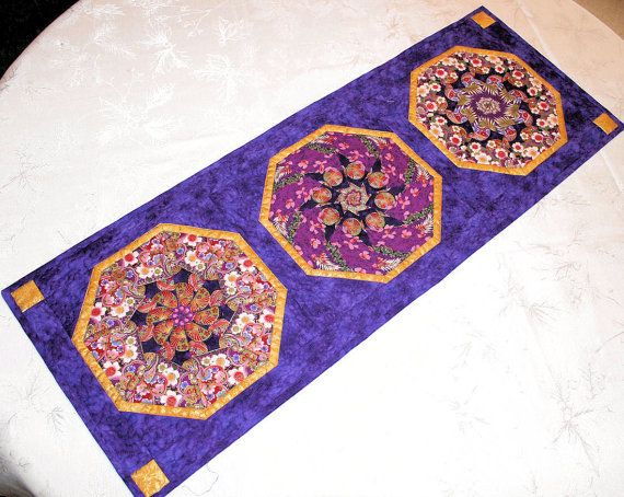 Purple · Oriental Table Runner In Purple And Gold ...