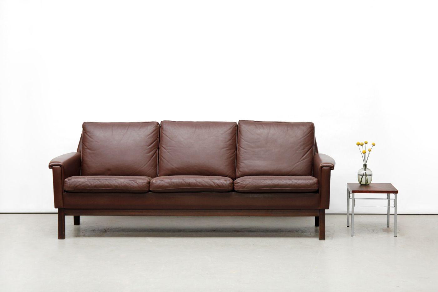 Vintage deens design bruine leren bank danish design brown leather