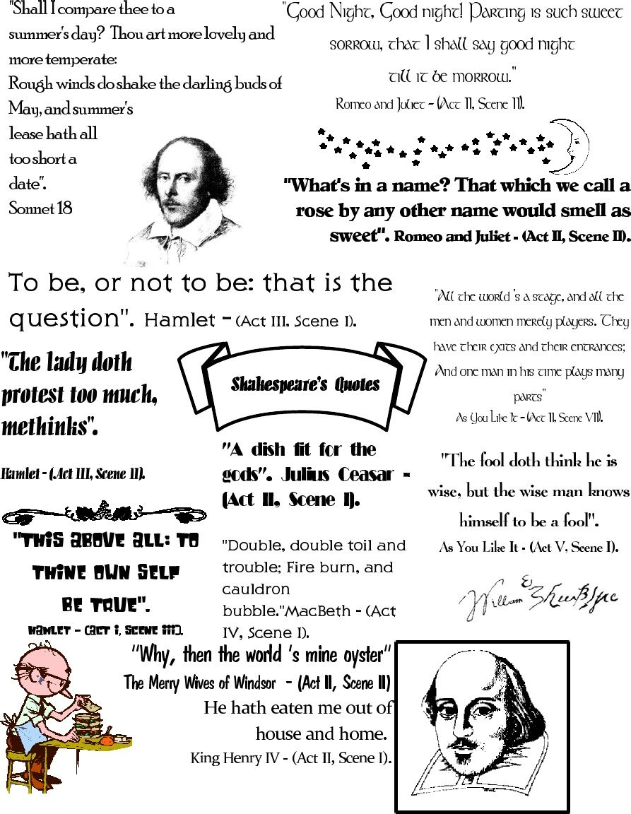 shakespeare quotations poster other free printables homeschool language arts pinterest. Black Bedroom Furniture Sets. Home Design Ideas