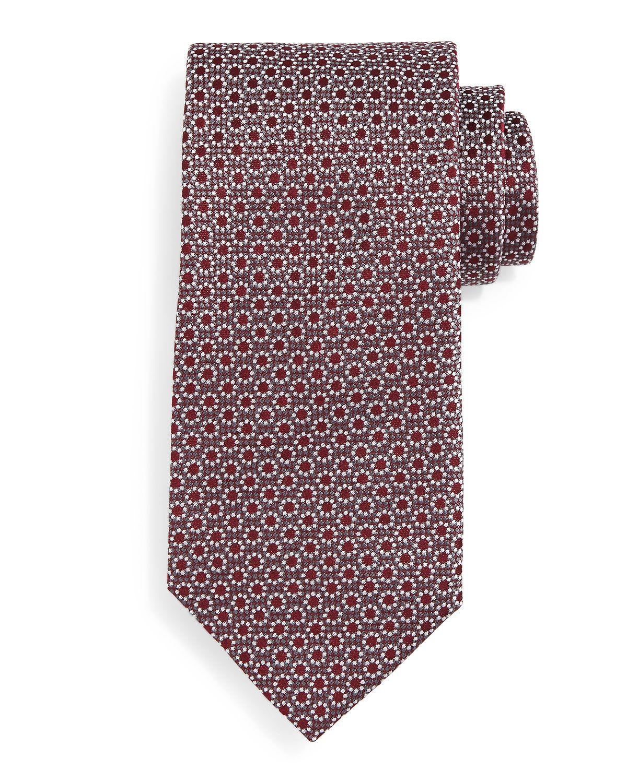 Floral-Print Neat Silk Tie, Burgundy (Red) - Boss Hugo Boss