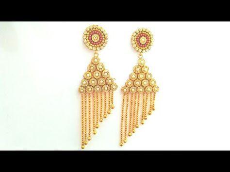 How To Make Designer Earrings Paper Earrings Jewellery Making