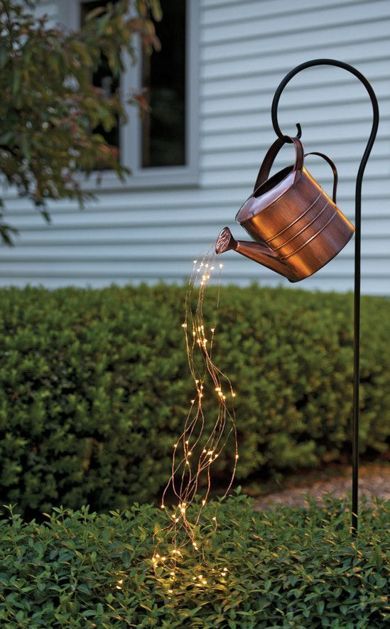 Star Shower Watering Can Decor with Lights   Gardeners.com