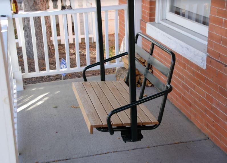 Hall double ski lift chair as porch swing ski lift chair