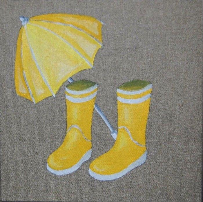 Tableau toile lin bottes jaunes parapluie d coration - Couleur lin brut ...