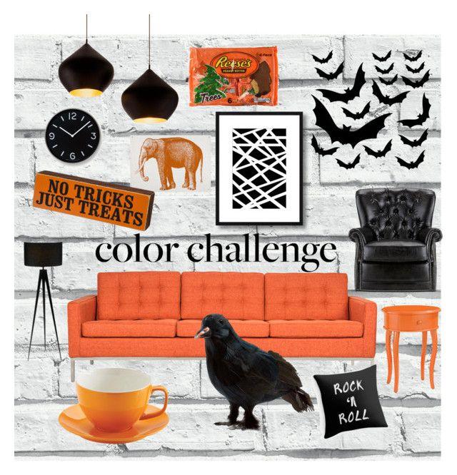 """Color Challenge: orange and black"" by gretaek ❤ liked on Polyvore featuring interior, interiors, interior design, casa, home decor, interior decorating, Somette, Adesso, Tom Dixon e Universal Lighting and Decor"