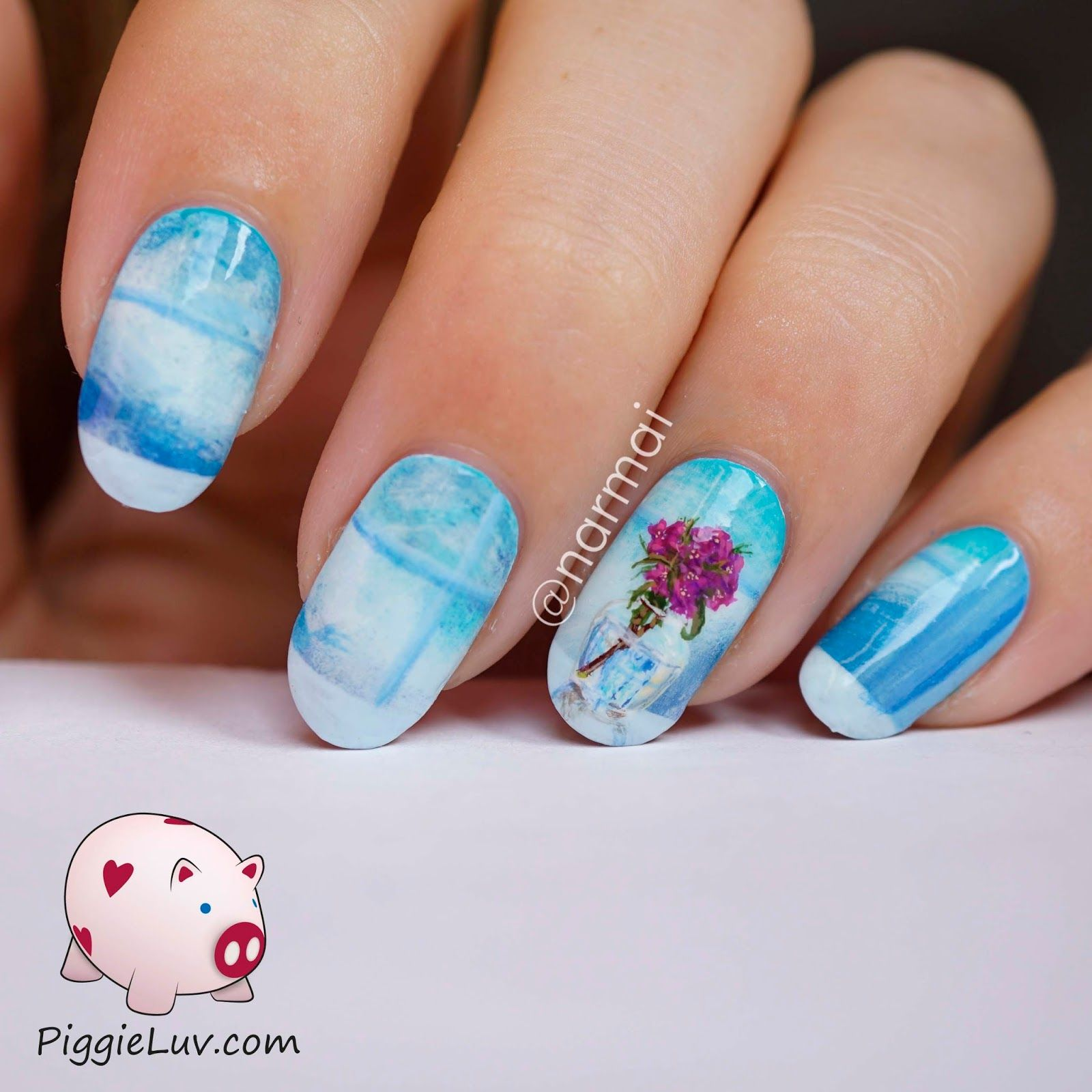 Freehand glass vase nail art | Pinterest