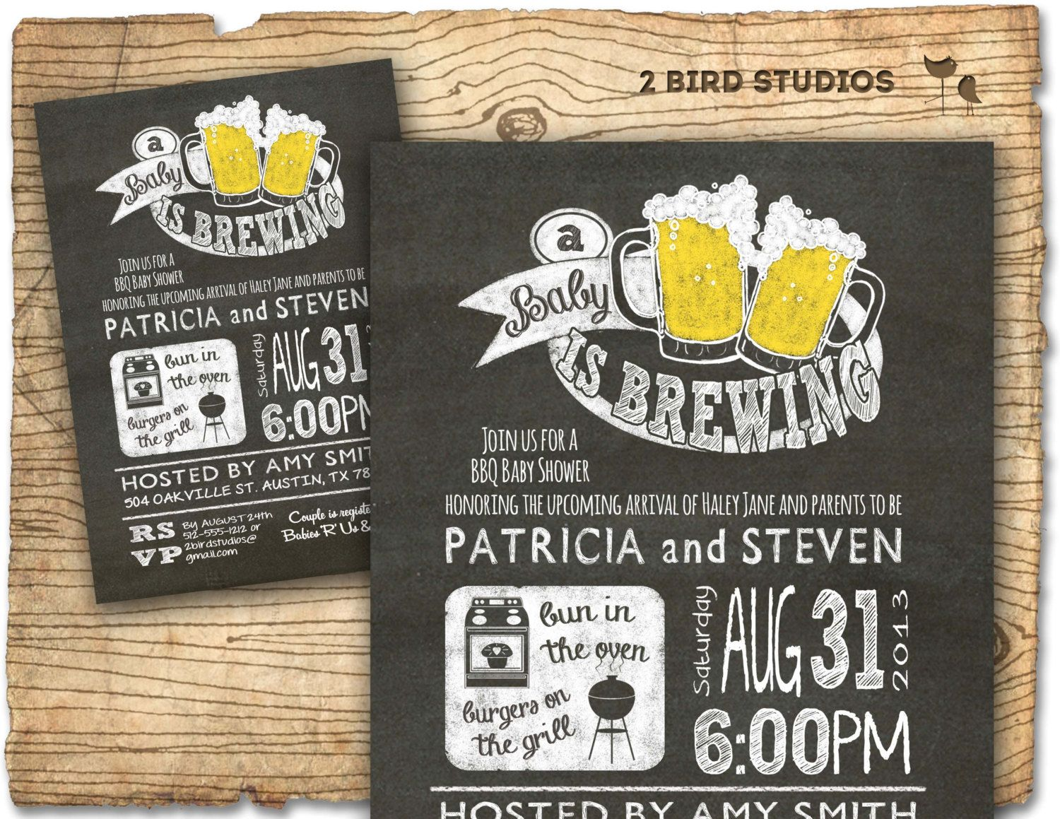 Printable Backyard Bbq Couples Baby Shower Invitation BBQ BEER