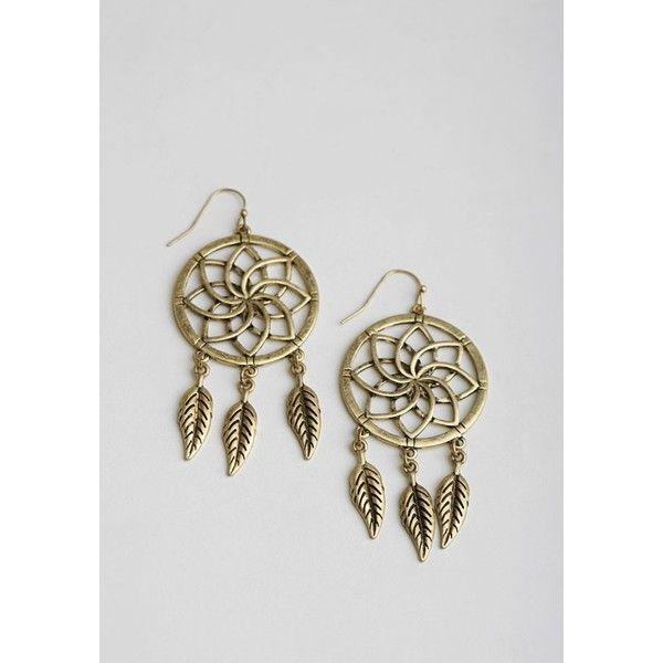 Day Dreaming Earrings (120 HRK) ❤ liked on Polyvore featuring jewelry, earrings, earring jewelry, gold tone earrings, feather earrings, bohemian style earrings and boho style jewelry