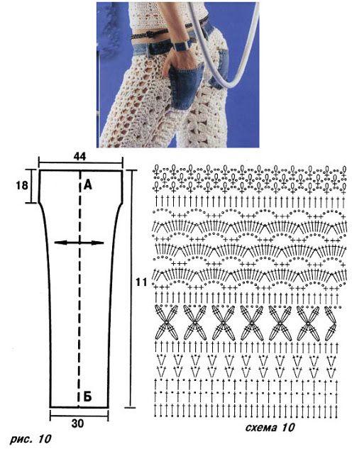 Pantalon Tejido con Cinturilla Vaquera - Patrones Crochet | Faldas ...
