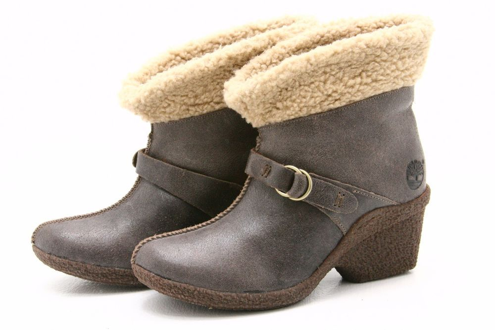 Timberland Bayden Earthkeepers Womens Boots 7 Wedge Heels Fleece Crackle Leather #Timberland #AnkleBoots #Casual