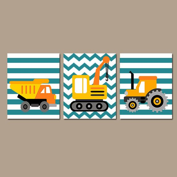 Construction Wall Art Canvas Or Prints Boy Teal Dump Truck Tractor Set Of 3