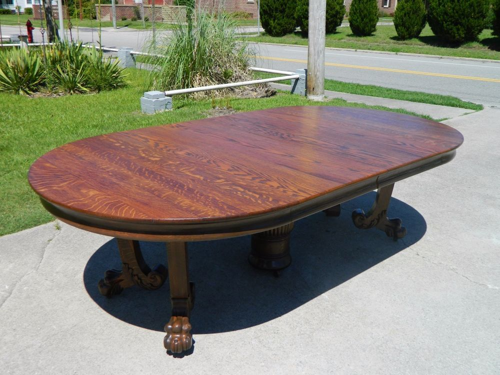 Oak Claw Foot Dining Conference Table Inches Long Circa - Ebay conference table