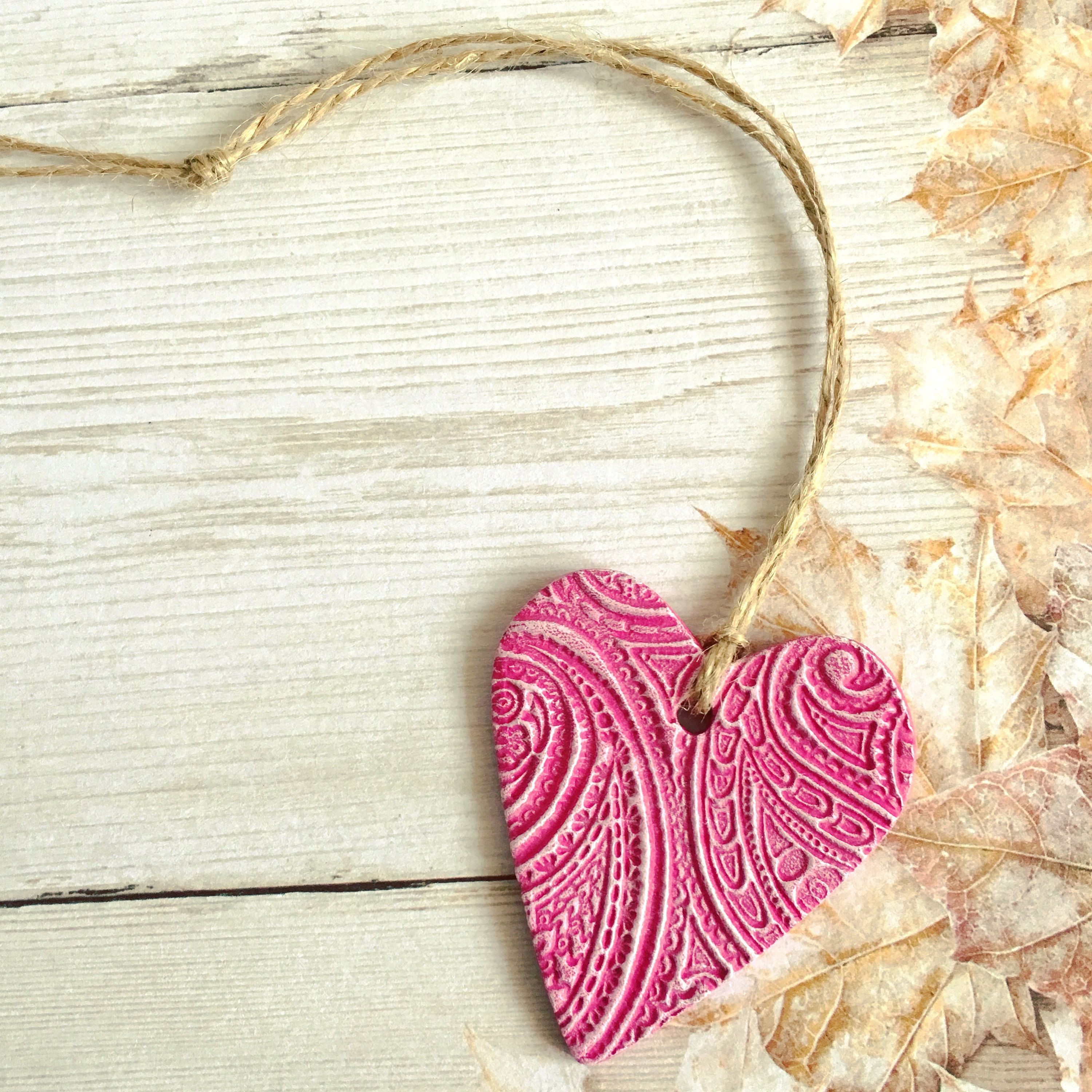 Pink Heart Decoration Hanging Heart Wall Hanging Door Hanger Heart Decor Heart Charm Clay Heart Clay Decora In 2020 Heart Decorations Hanging Hearts Pink Clay