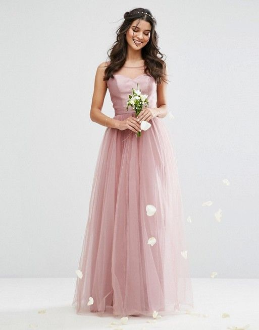 Chi Chi London Sweetheart Tulle Maxi Dress With Satin Bodice ...