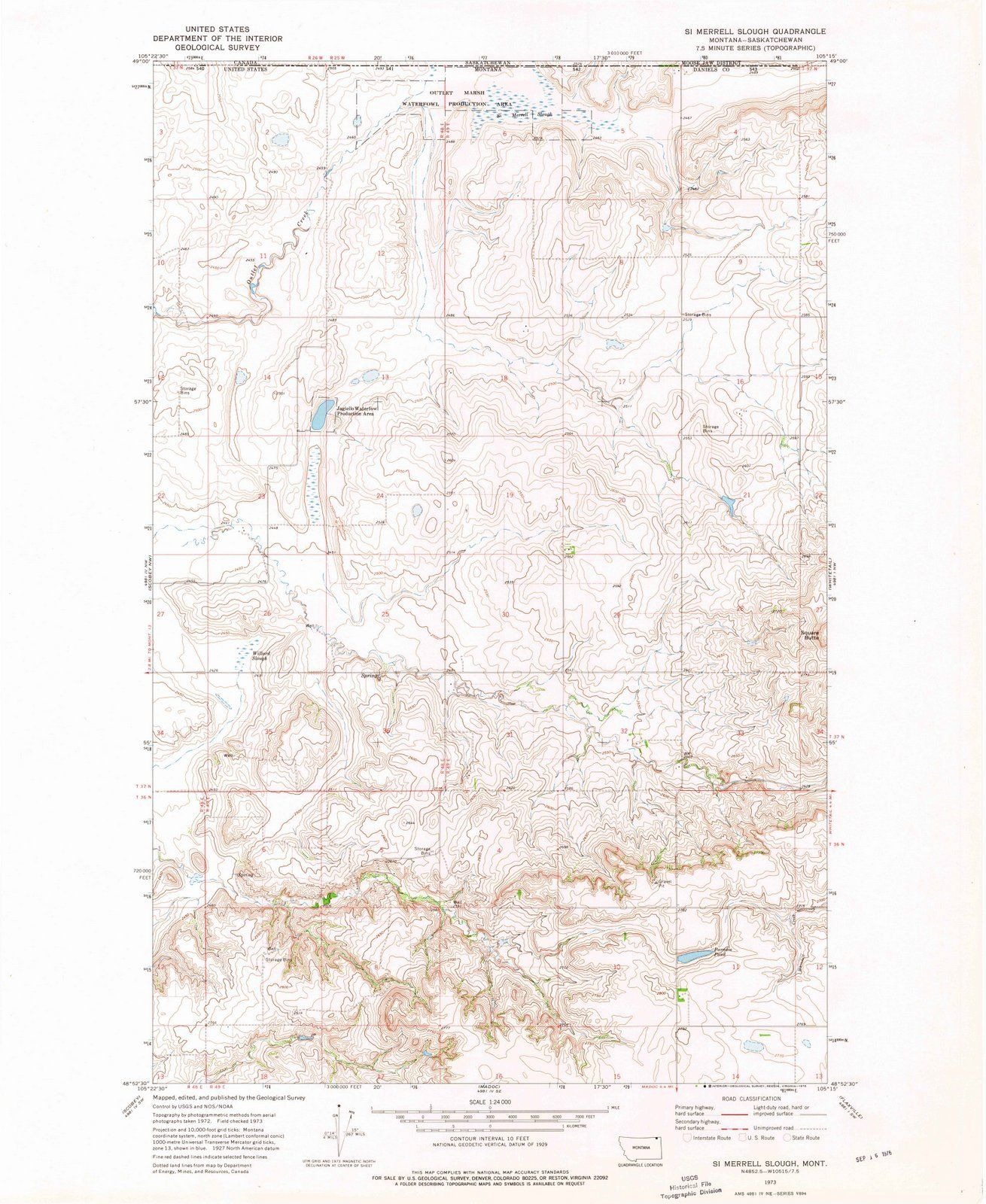 <p>1973 Si Merrell Slough, MT - Montana - USGS Topographic Map</p>