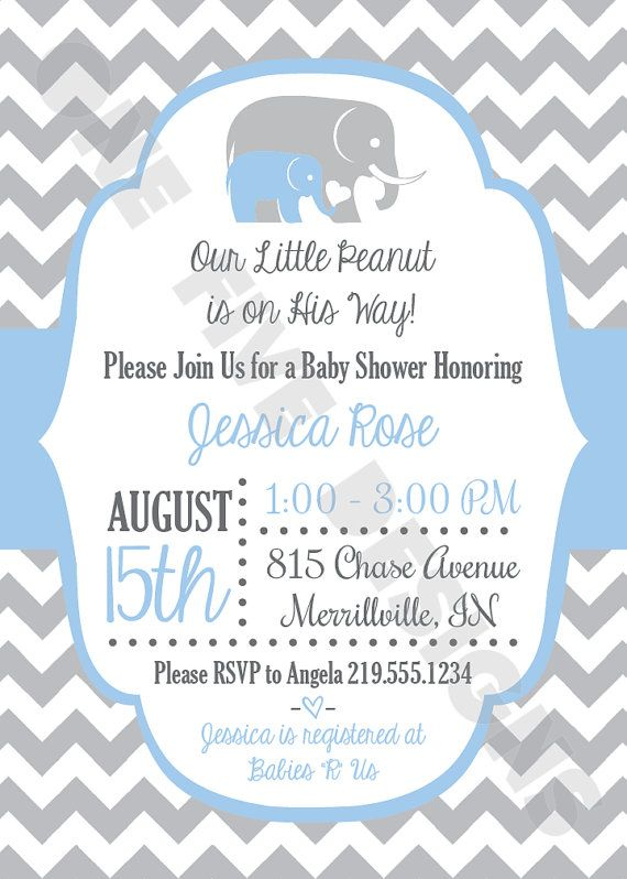 Elephant Chevron Little Peanut Baby Shower By Onefivedesigns