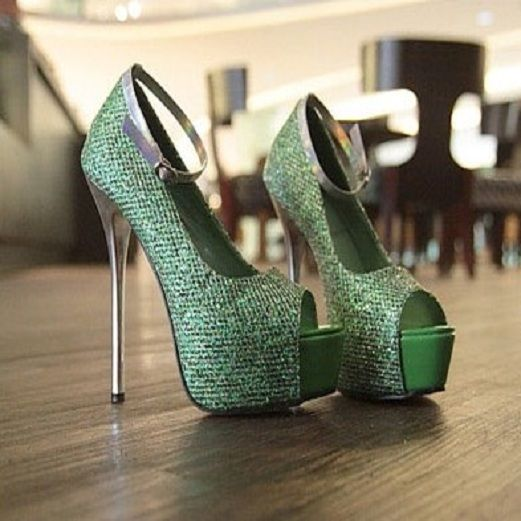 2012 paillette word-style buckle peep thin heel pumps    $25.78