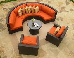 Tufted Sofa semi circle sofa u lounge chairs black and orange and beige if