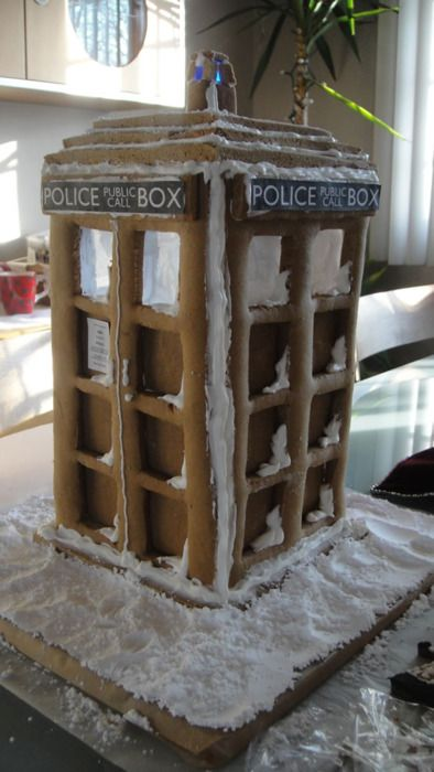 tardis gingerbread house template  gingerbread TARDIS (click through for template) Squeeeeeeeee ...