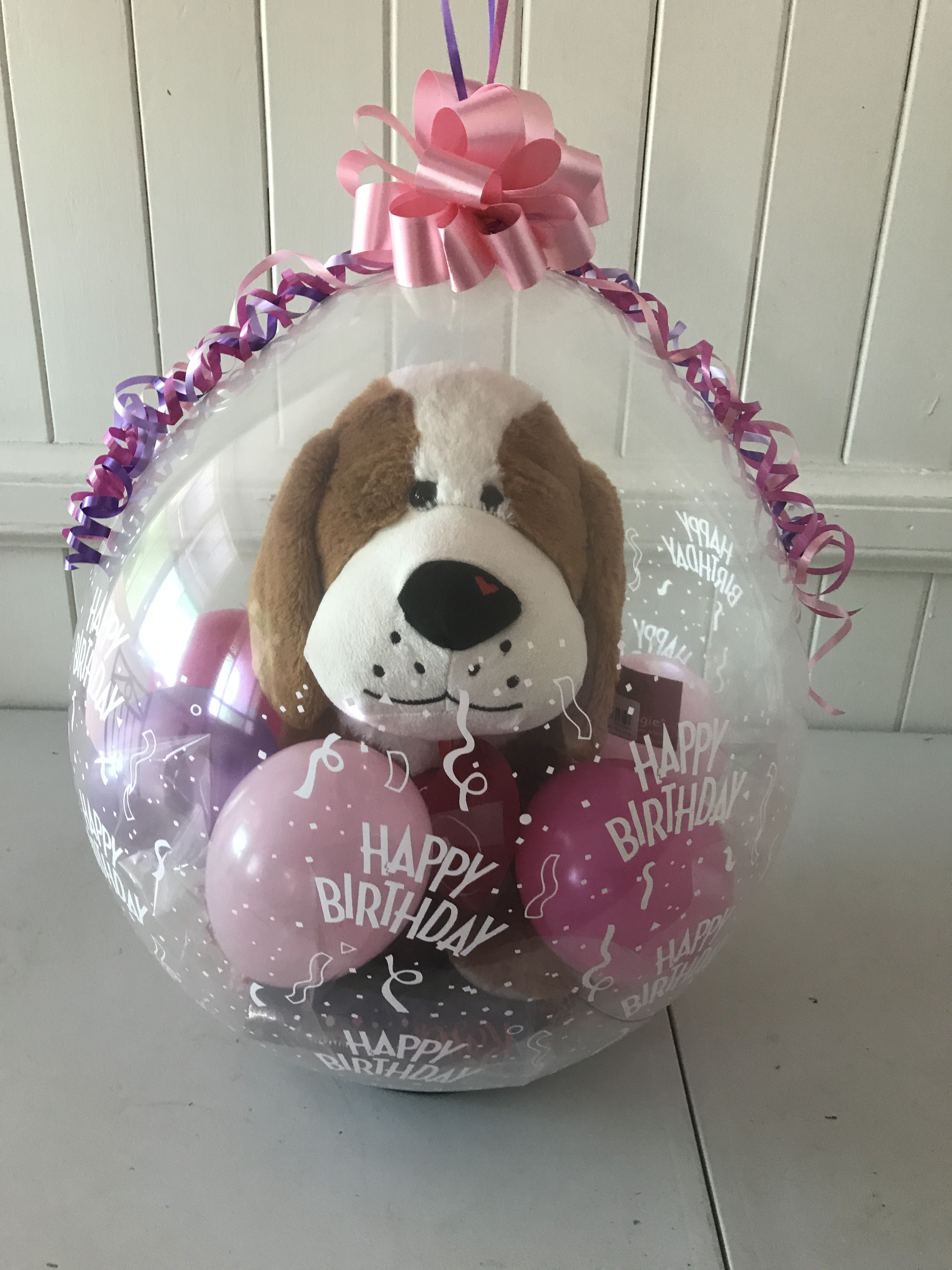 Stuffed Balloon Or Gift Inside A Large Plush Dog With Box Of Chocolates