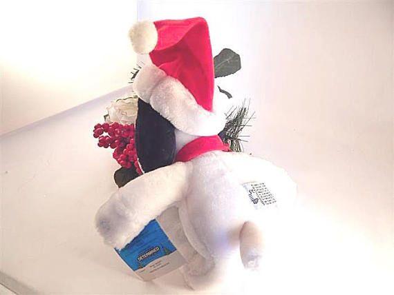 Winter Snoopy Plush Stuffed Animal Santa Hat Vintage 1996 Applause Peanuts  Charlie Brown Dog Toy Wit f0f948733fdc