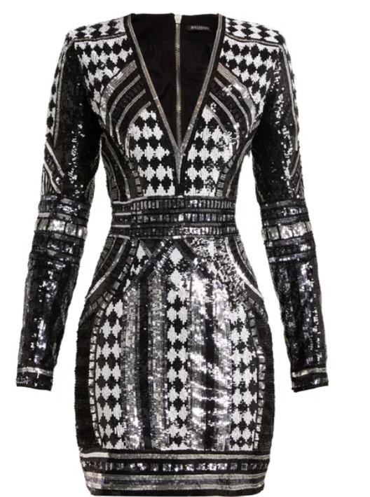 9e82edecb9da BALMAIN Sequin-embellished mini dress | Perfect party looks in 2019 ...