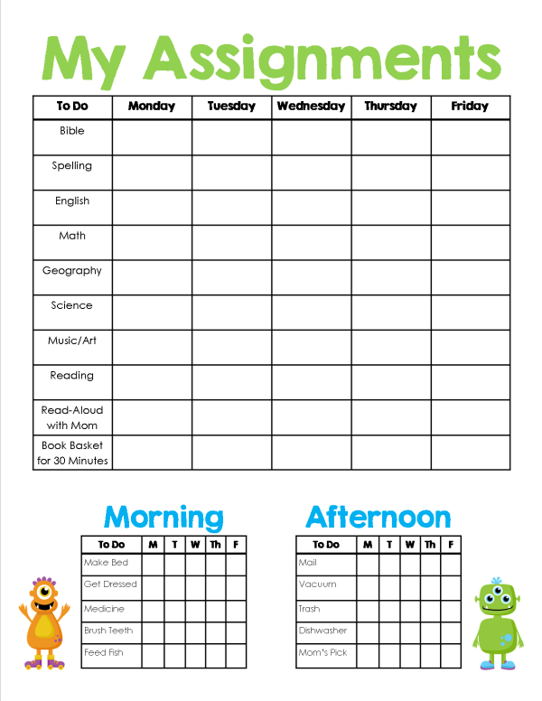 Homeschool Assignment Chores Sheet Worksheets
