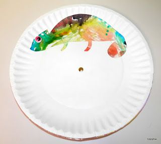 Changing Color Paper Plate Chameleon Watercolor Craft Inspired By