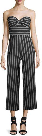 c623b14238d Veronica Beard Cypress Strapless Striped Wide-Leg Jumpsuit ...