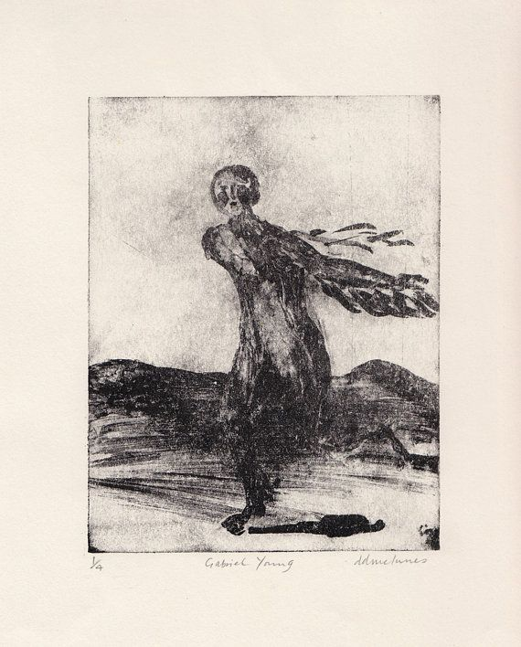 """Artist's Print Hand Printed limited Edition Waterless Litho - """"Gabriel Young"""""""