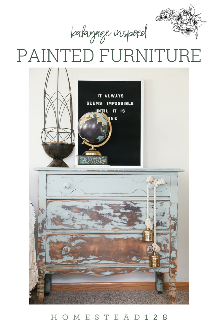 Painted furniture is heavily distressed in a gradual way, inspired by balayage hair coloring.  DIY tutorial on Homestead 128.
