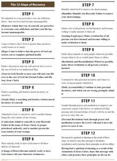 12 steps of recovery   Counseling   Pinterest   Recovery