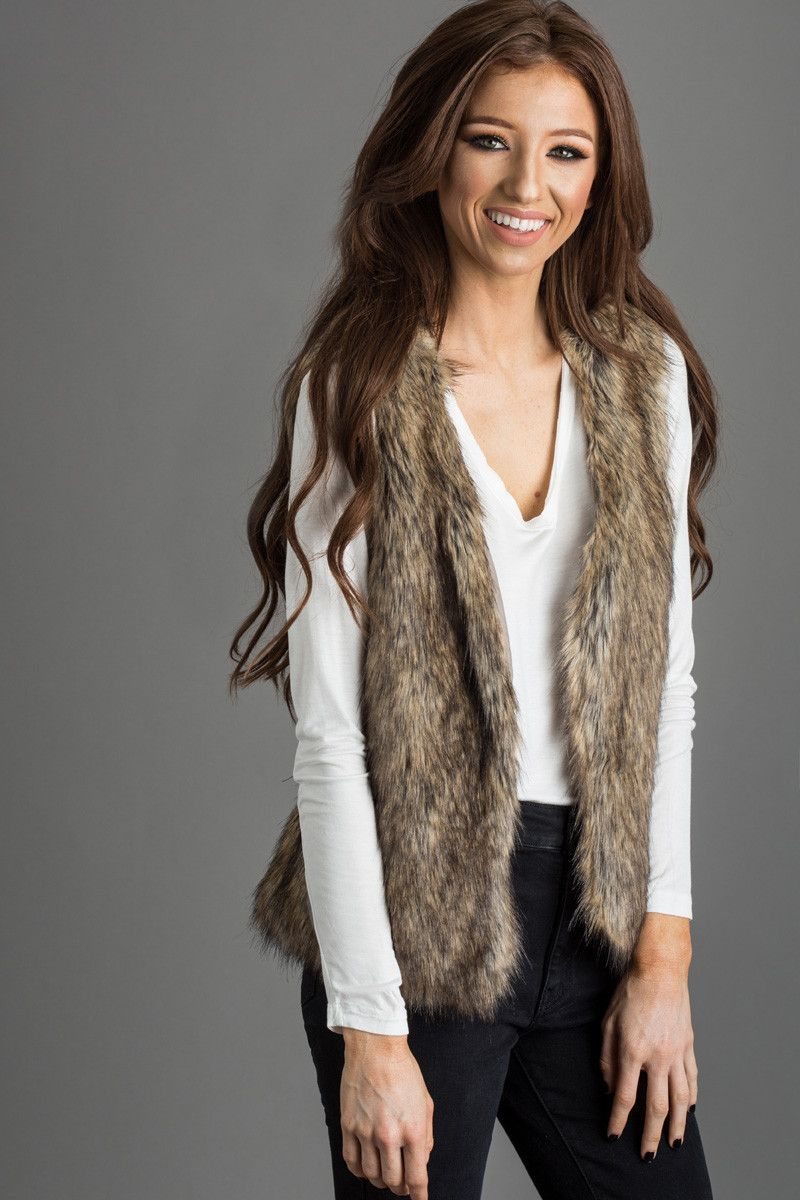 Ally Brown Faux Fur Vest | Faux fur vests, Fur and Comfy