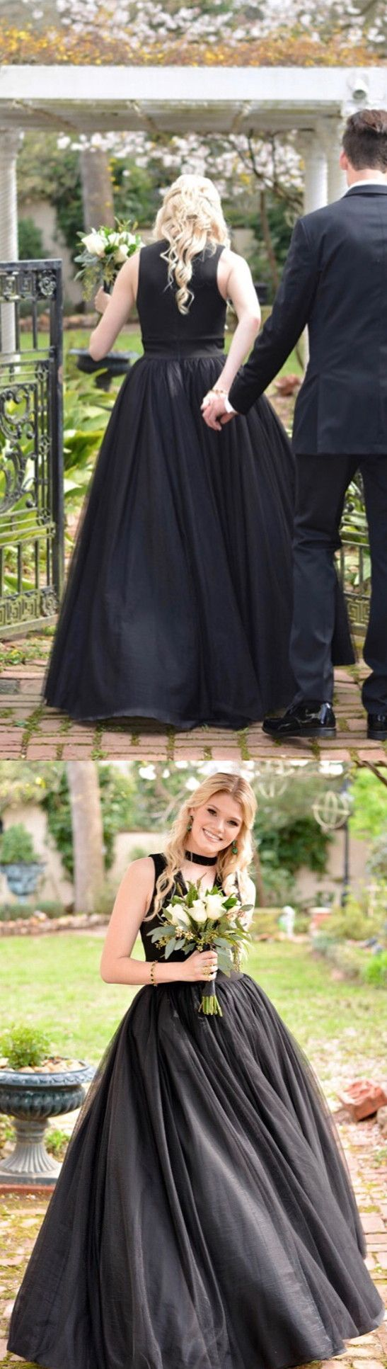 Black long ball gown red long prom dress in promhoco