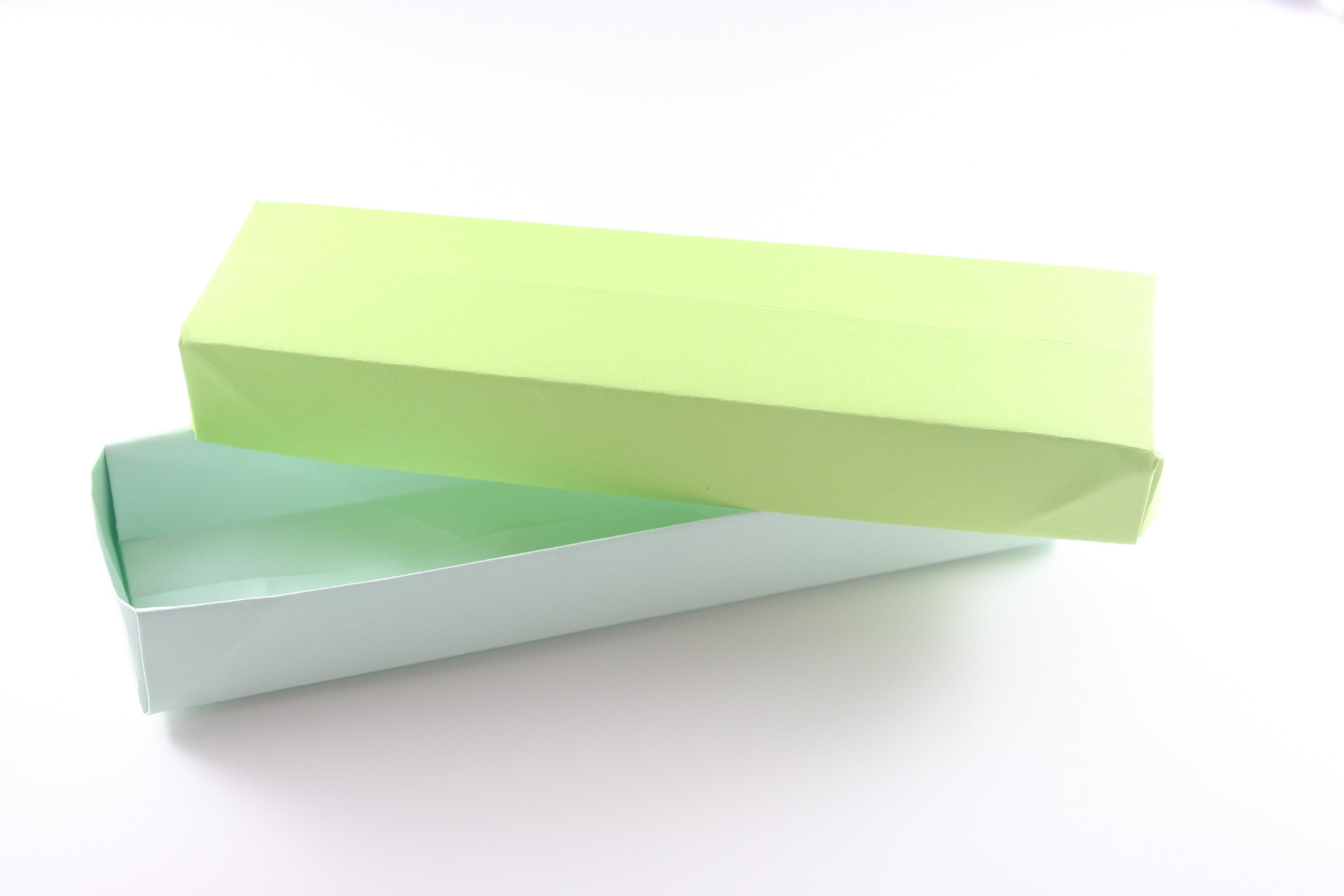 箱の折り方 折り紙 ペンケースにピッタリ細長型 折り紙 ケース 折り紙 箱