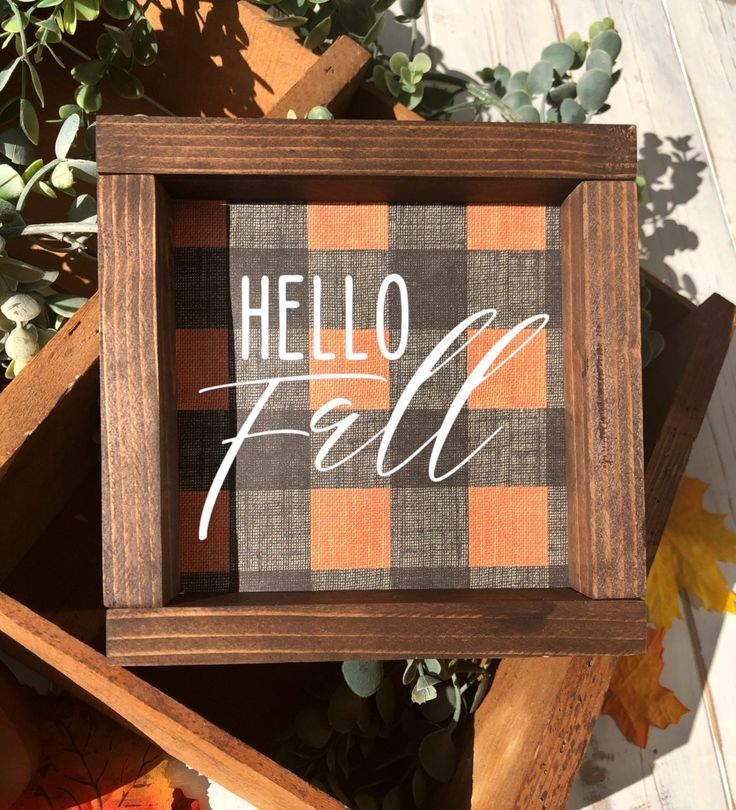 Farmhouse Hello Fall Sign, Orange and Black Buffalo Check Fall Farmhouse Tiered Tray Sign, Framed Wood Sign, Shelf Sign #hellofall