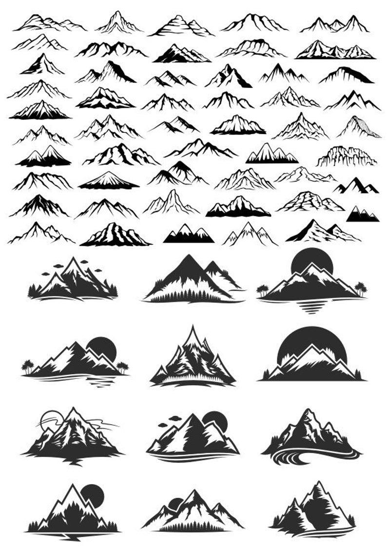 Mountains Set Mountain Silhouette Svg Trees Svg Svg Mountain Png Mountain In 2021 Mountain Drawing Mountain Tattoo Moutain Tattoos