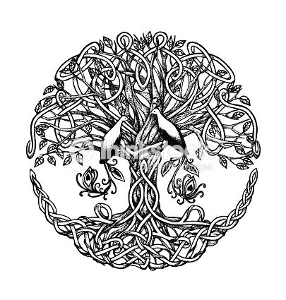 Celtic Tree With Birds Of Paradise Graphic Arts Dotwork
